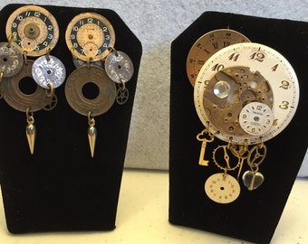 Unique Steampunk Clock Broach and Earring Set