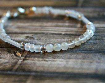 FERTILITY, Moonstone Beaded Bracelet, Wish Bracelet, Positivity Bracelet, Sterling Silver Bracelet, Stacking Bracelet, Moonstone Bracelet