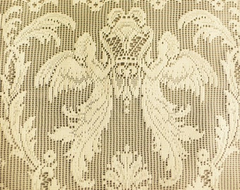 SALE 3 yds vintage lace curtain ANGELS design Cafe lace classical design/ 3 yards