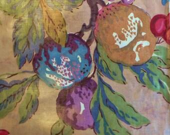 Vintage Chintz fabric Warners fabric chintz glazed Roses & grape design original label// 1950s