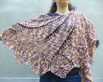 Yellow with burgundy hand knitted shawl with soft wool,handmade scarves wool,perfect women gift.Ready to ship