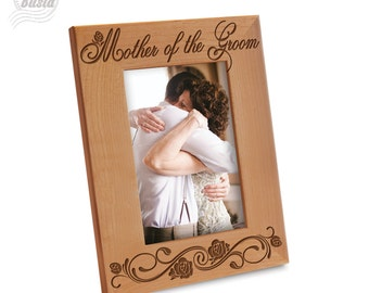 Mother of the Groom Picture Frame - Mom Picture Frame- Wedding Gift Picture Frame- Engraved Natural Wood Picture Frame