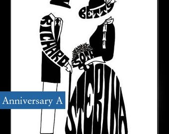 Personalized Silhouette - Anniversary Couple