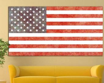 America wall art Flag USA wall decor Flag USA canvas Flag USA print America Wall Art America canvas America print Large Canvas Print Decor
