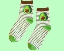 avocado socks | men socks | women socks | cotton socks | casual socks | fruit socks | gift socks | cute socks | green socks | stripe socks