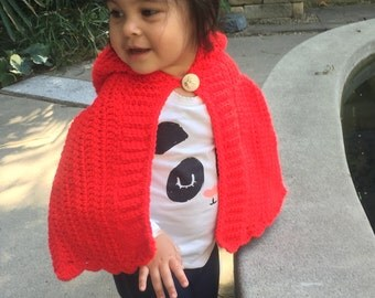 SALE!!!Crochet red ridding hood cape