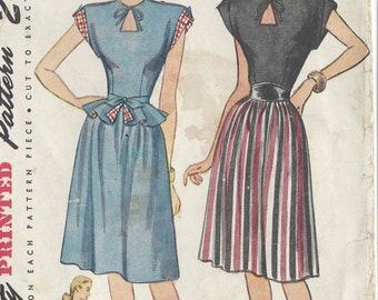 "1946 Vintage Sewing Pattern B30"" DRESS & DETACHABLE PEPLUM (29)  Simplicity  1738"