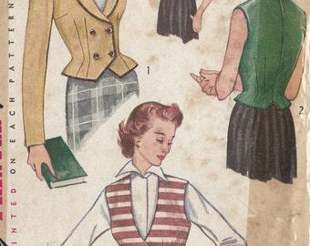 """1951 Vintage Sewing Pattern B38"""" JACKET & WESKIT( R276)  Simplicity 3683"""