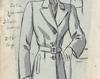 1940s WW2 Vintage Sewing Pattern B34 COAT (1083) Weldons 155453