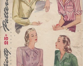 1944 Vintage Sewing Pattern B42 BLOUSE (R925) Simplicity 1170