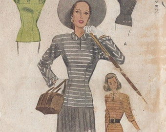 "1947 Vintage Sewing Pattern B34"" BLOUSE (R243) McCall 7007"