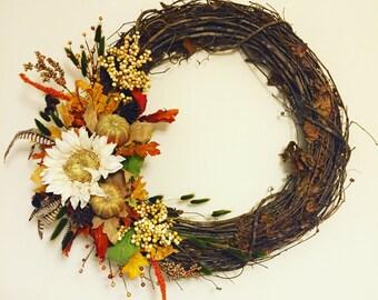 Fall Wreath with Sunflower / Fall Door Decor / Thanksgiving Wreath