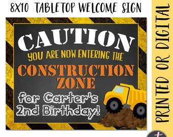 Construction Party Welcome Sign, Construction Birthday Sign, Construction Welcome Sign, Dumptruck Party Sign, Dumptruck Birthday Sign