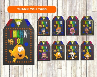 Bubble Guppies Chalkboard Thank you tags, printable Bubble Guppies party tags, Bubble Guppies thank you tags- Instant download