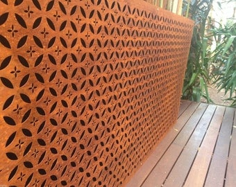 Metal  Art rust  Arabic  feature wall panel privacy screen
