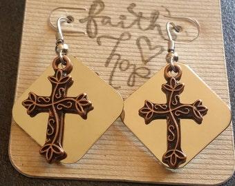 Brushed Rose Gold Cross Earrings