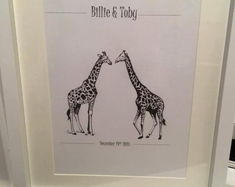 Personalised Giraffe Couple Prints