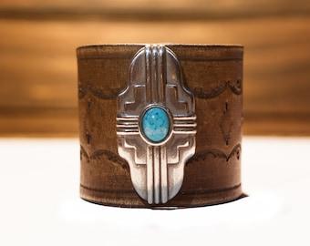 Boho Leather Bracelet, Native American Leather Bracelet, Turquoise Leather Cuff, Leather Cuff, Southwest Leather Bracelet