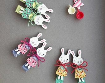Pair of Wood rabbit Hair Clip, Alligator Clip, Hair Accessoies, Hair Pin for babies kids girls, Hair Pins, Pink Clip, Yellow, Green