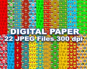 Pokemon Digital Paper - 22 jpeg files 12x12 inches 300 dpi for you Pokemon Party