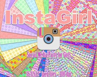InstaGirl - Instagram Party - Digital Paper - Social Media Party - 36 jpeg files 12x12 inches 300 dpi