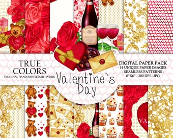 """Valentine's Day Digital Watercolor Hand-Painted Gold Foil Red Pink Rose Gold Foil Candle Teddy Bear Wine Glass Cupcake Love 6x6"""""""