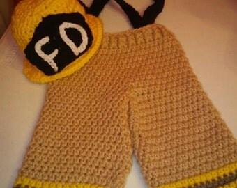 Crochet Fireman Outfit/ Newborn/ Photography Prop