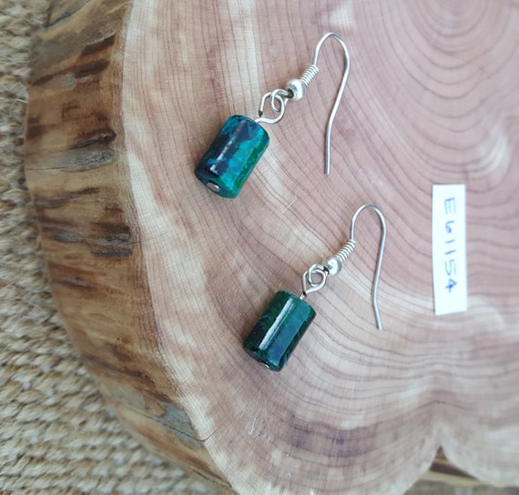 Chrysocolla Earrings / Kelly Green and Turquoise Earrings / Dangle Earrings / Hippie Earrings / Boho Jewelry /E61154