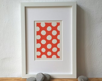 BatonRouge, linoprint, orange, lino cut, original artwork, modern art, abstract art, fine art, print art, minimalistic, scandi, geometric