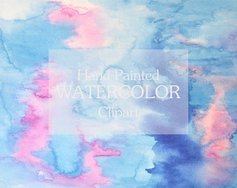 Clip Art Watercolor background clip art, instant download pink and blue