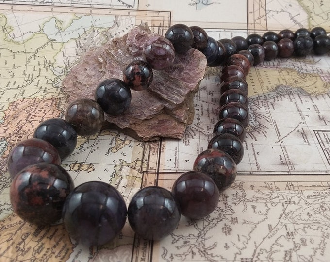 When Worlds Collide natural graduated Sugalite bead necklace