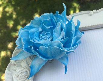 Blue hair accessories Blue flower hair Blue hair clip Sea life Blue flower Hair Clip Blue flower brooch Flower Hair Clip brooch Accessories