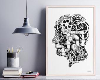 Black and White Skull pen drawing/ hand drawn Print/ Silhouette Illustration/ Phrenology/ Home Decor
