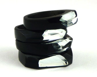 Resin Rings,Unique Ring with mirror,Black Resin Jewellery,Unique Ring, Resin Jewlery,Shiny Ring,Gift for Her,Crystal Resin,Gift for Woman