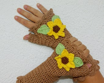 "50% OFF Crochet Gloves: ""BROWN GLOVES"" Fingerless Brown Sunflowers Gloves Hand Warmers Hand Knit Sunflowers Mittens Winter accessory A23"
