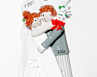 """Personalized Ornament- Bride and Groom """"I DO"""" Couple Ornament"""