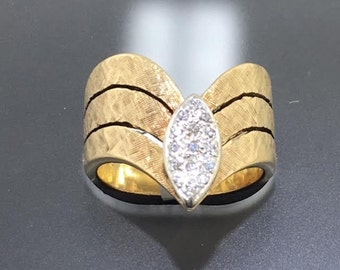 Vintage Diamond and Gold Chevron style Ring