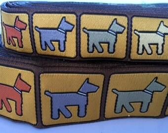 multi color stencil dog jacquard ribbon