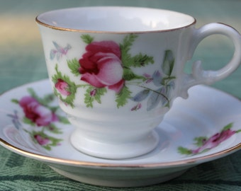 Lefton China Demitasse Cup and Saucer with Pink Roses