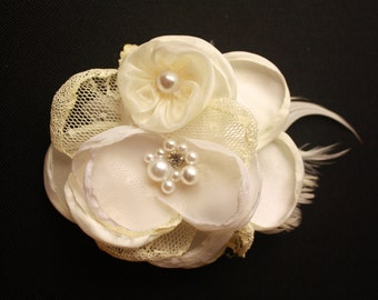 Vintage Lace, Feather & Rhinestone Boutique Flower Hair Bow Clip