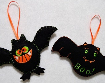 Halloween embroidered felt Bat tree ornament pair