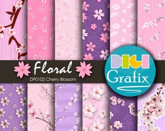 SALE Sakura Digital Paper, Sakura Clipart, Printable Paper, Floral Birthday Party, Flower Blossom Papers, Romantic Pink Paper