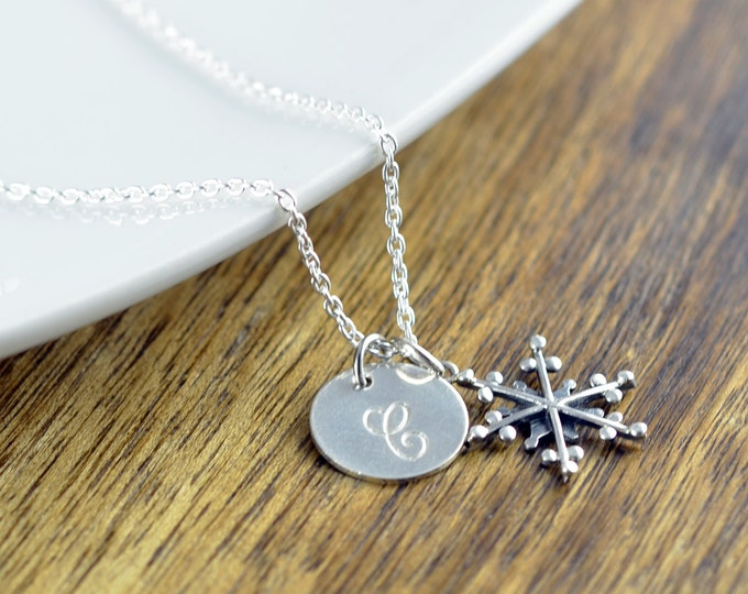 Personalized Snowflake Necklace - Sterling Silver Initial - Sterling Silver Snowflake Charm - Bridesmaid Gift