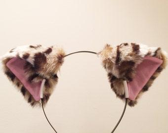 Cat ears Leopard Headwear pattern/ pink inside  Furry Animal