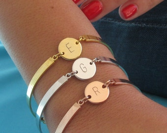 Initial Cuff Bracelet with Hand Stamped Initial Disc in Gold, Silver or Rose Gold Plated