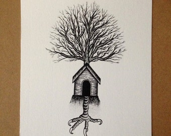 Flash Tattoo Print . House tree .