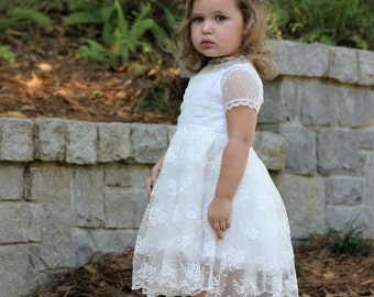 Flower Girl White Lace Wedding Dress Girls 2T 18-24M Birthday Special Occasion