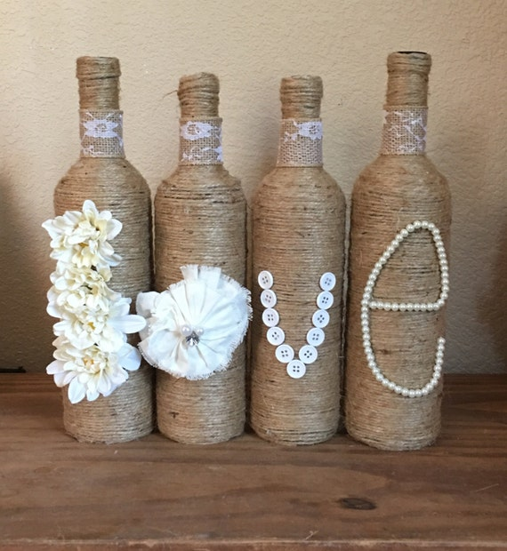 Twine Wrapped Wine Bottle w/ Pink Burlap Flower |Twine Covered Wine Bottles