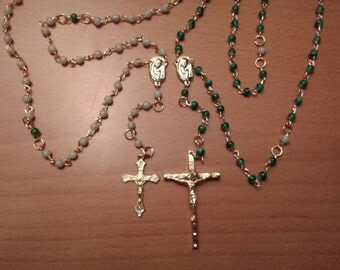 Beautiful Handcrafted Rosary with green glass and gold tones
