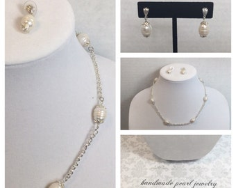 """White Freshwater Pearl 18.5"""" Necklace with Earrings"""